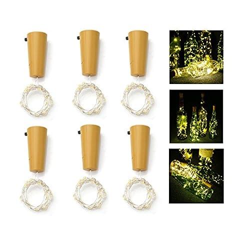 MAVIE Set von 6 Wein Flasche Kork LED Leuchten 10 LED 1 Meter Kupfer Draht Starry Kork Lichter für Festival, Party, Geburtstag, Dekoration, Geschenk, Dating Battery-Powered(Warm (Light Set Weiß Draht)