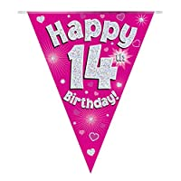 Happy 14th Birthday Pink Holographic Foil Party Bunting 3.9m Long 11 Flags