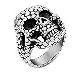 Anyeda Ring Herren Edelstahl Schädel-Ring Silber Schwarz Wedding Rings Men Ringgröße 54 (17.2)