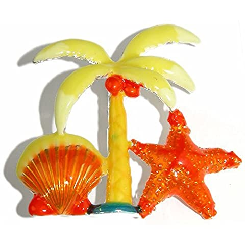 Enamel Palm Tree and Seashell Pin 2 X 2 1/8, in Yellow with Silver Tone Finish by GirlPROPS(R)