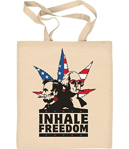Cooles Geschenk - Inhale Freedom - Licoln Weed Jutebeutel Baumwolltasche One Size Natur (Abe Lincoln-shirt)
