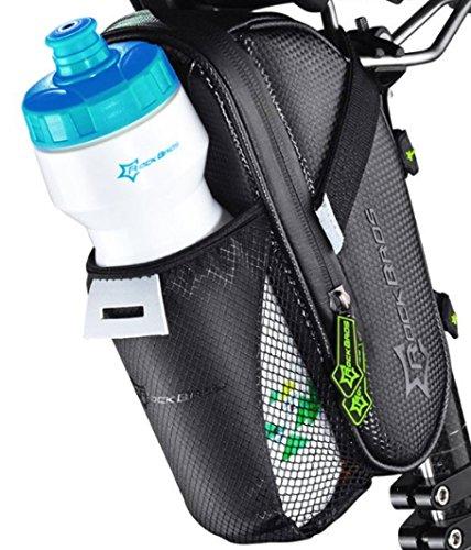 ROCKBROS Fahrrad Satteltasche mit Flaschenhalter • Fahrradtasche Schwarz Wasserdicht • Netztasche für - Rockbros Rennrad Sattel