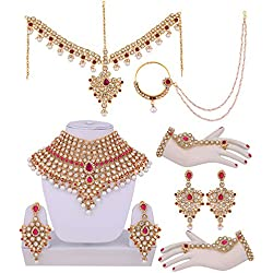 Lucky Jewellery Magenta Designer Partywear Wedding & Engagement Bridal Set
