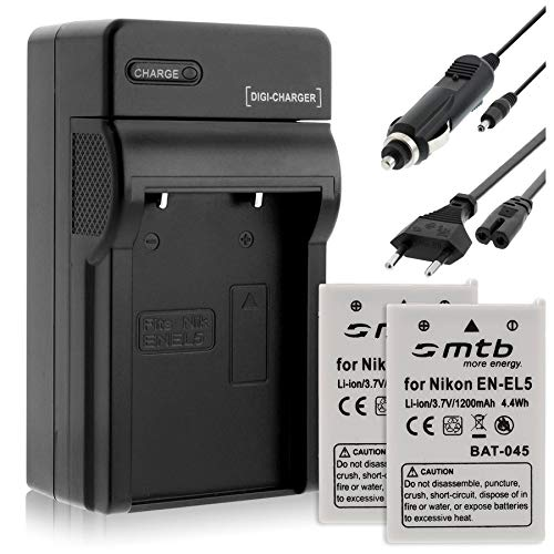 2 Batterie + Caricabatteria (Auto/Corrente) EN-EL5 per Nikon P3 P4 P500 P510 P520 P5000 P5100 S10.
