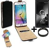 K-S-Trade TOP Set für Alcatel 1X (2019) 360° Flipstyle Schutz Hülle Smartphone Tasche schwarz + TPU Bumper, Case Hülle Flip Cover für Alcatel 1X (2019)