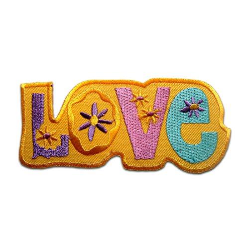 Parches - Love Hippie - amarillo - 4,9x11,3cm - termoadhesivos bordados aplique para ropa