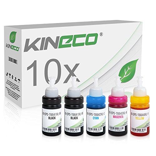 10x Kineco Tinte kompatibel zu Epson EcoTank ET-2500 ET-2550 ET-2600 ET-2650 ET-4500 ET-14000 L100 L110 L1300 L200 L210 L350 L355 L365 L455 L550 L555 L565 - je 70 ml -