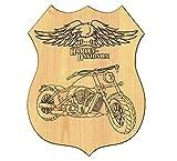 QUADRO CASA in legno INCISIONE moto HARLEY DAVIDSON targa Route 66 IDEA REGALO
