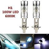 TKOOFN 2pcs Lampes LED Anti-brouillard H1 Sharp 1800LM 100W 20SMD Ampoules Phare Feux de Jour DRL Auto Voiture 6000K
