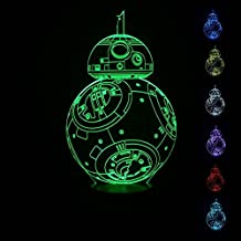 SmartEra® USB Star Wars Charakter Film BB8 Roboter sieben Farbwechsel LED-Touch-Taste 3D Optische Täuschung Schreibtischlampe