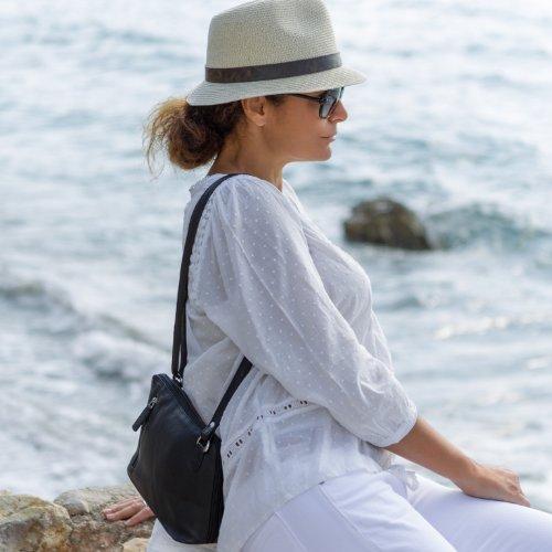 BACCINI borsa a tracolla CYNTHIA - Borsa in cuoio con manico a spalla piccolo - sacchetto vera pelle nero (17 x 16 x 6 cm) nero