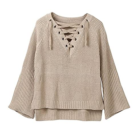 FriendG Women Solid Long Sleeve V Neck Knitted Pullover Loose Sweater Jumper Tops Casual Knitwear (Free Size,