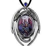 DarkDragon Drachen Anhänger Amulett Cabochon mit Halsband Drachenanhänger Schmucksäckchen und Karte 10