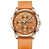 XLORDX Classic Herren Uhren Quarz Datum Chronograph Wasserdicht Uhren Business Casual Sport Design Orange Lederarmband Rosegold Armbanduhr
