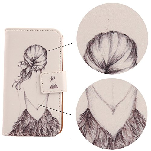 """Lankashi PU Leather Cuir Etui Flip Coque Cover Case Housse Protection Pour Apple iphone 6 4.7"""" Wing Girl Design Back Girl"""