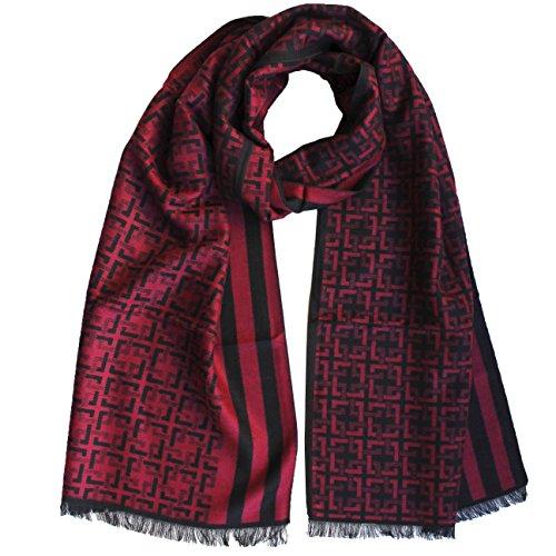 FERETI Echarpe Homme Soie Rouge Noir A Large Rayures Et Tartan Abstract Carreaux Foulard Automne Hiver