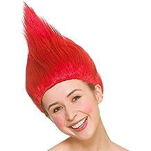 Peluca Troll unisex para adultos - Accesorio de disfraces rojo