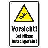 Schild Vorsicht/Achtung Bei Nässe Rutschgefahr aus Aluminium-Verbundmaterial 3mm Stark 20 x 30 cm