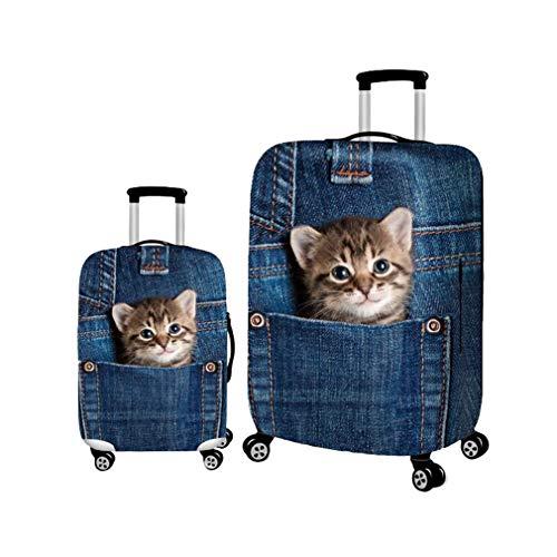 Yying Cute Denim Welpen Hunde Elastische Koffer Gepäck Taschen Reise Schutzhülle für Trolley 18-32 Zoll Protector Taschen