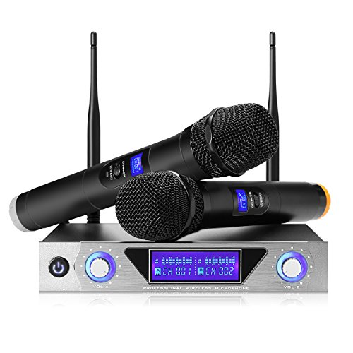 UHF Funkmikrofon Set NASUM Wireless Mikrofon System mit Dual Handheld Dynamischen Mikrofone und LCD Display Karaoke Mikrofon Professional Dual 2 Handmikrofon für Outdoor Hochzeit, Konferenz, Karaoke