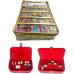 Atorakushon Combo Gold Satin 5 Rods Bangle Box, Bracelet Jewellery Box Ring & Earring Boxes