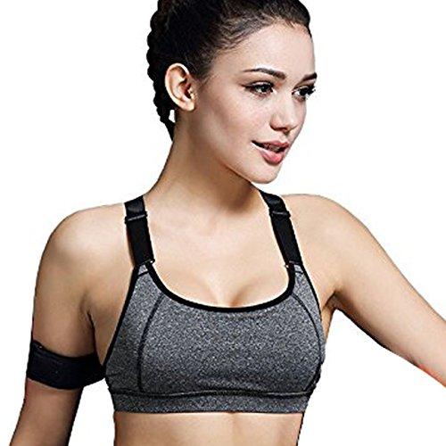 Minetom Donne Sport Reggiseno Yoga Jogging Gilet Athletic Vest Palestra Fitness Tops Grigio A 40