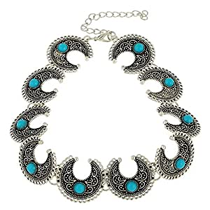 Young & Forever Boho Gypsy Turquoise Beads Avante Garde Crescent Moon Choker Necklace for women N375