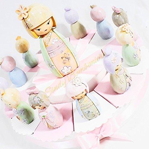 Idea Torta bomboniera Nascita Comunione Battesimo con giapponesina Bambola Statuetta per Bimba (Torta da 12 fette + Centrale) *