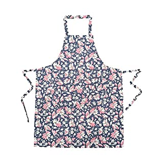 Ladies Floral Full waist tie apron with Front split pocket One Size Dark Blue