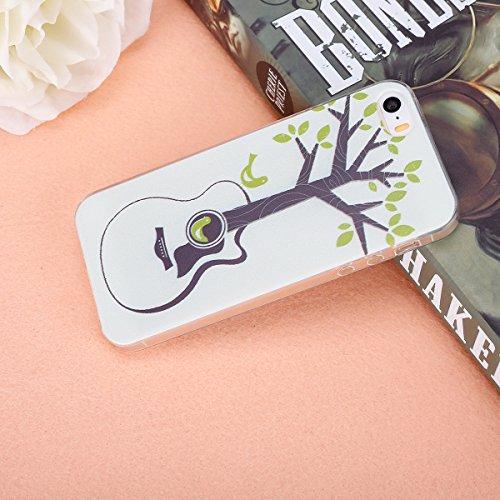 Etsue Silikon Case für iPhone SE/iPhone 5S [Eiffelturm Pflaume Baum] Transparent TPU Schutzhülle, Bunte Blumen Schmetterling Painted Ultradünne Klare Silikon Gel Schutzhülle Weich TPU Case Crystal Cle Kristall Rahmen,Gitarre,Baum Blatt
