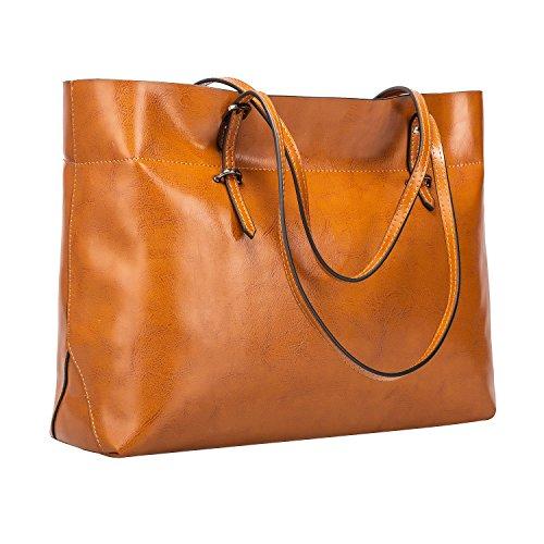 S-ZONE Damen Vintage Echtleder Tote Beutel Schultertasche Handtasche (Leder Tote Handtasche Damen)