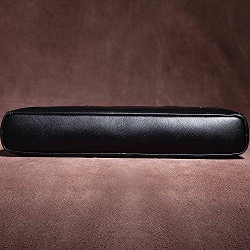 Oneworld Herren Rindleder Messenger Bag Aktentasche Schultertasche Notebooktasche Handtasche Umhängetasche Schultasche Tote Bag 37x28x7cm(BxHxT) Khaki Schwarz