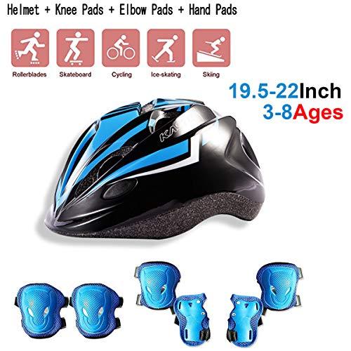 Kinder Skateboard Helm Set, Kinderhelm-Set, Sicherheit mit Schutzausrüstung für Fahrrad zum Roller,Skating Roller,Radfahren,Skateboard Helm,,Jungen und Mädchen Knie Und EllbogenschüTzer Safety Blau