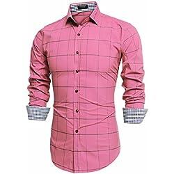 Coofandy Camisas Slim Fit Hombre de Vestidos Regular Rosa Talla Grande XL
