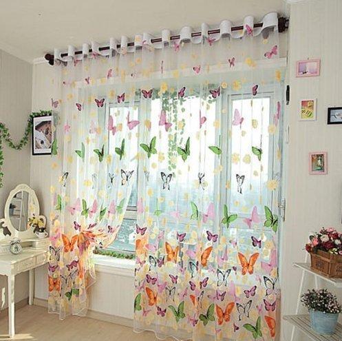UChic 1 STÜCKE Fensterabdeckungen, Smart Schmetterling Print Sheer Jalousien Jalousien Sheer Voile Rohr Vorhänge Raumteiler Partition Bildschirm 39,37