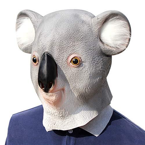 Sexy Kostüm Koala - Keepart Koala-Bär-Maske aus Latex für den ganzen Kopf, Halloween, Party, Cosplay, Kostüm-Requisiten