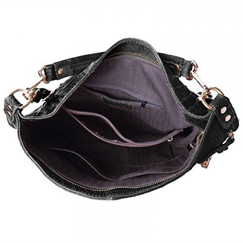 CASPAR Damen Wildleder Tasche / Henkeltasche / Umhängetasche mit Krokoprägung - viele Farben - TL678 schwarz
