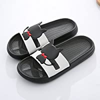 fankou The Silence in The Summer Home Slippers Women Indoor Bath Bathroom Non-Slip Cartoon Couples Plastic Shower Slippers Men and,35-36, Black Cat