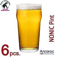 Lot de 6Verre à Bière ou de cidre-en verre, forme nonic
