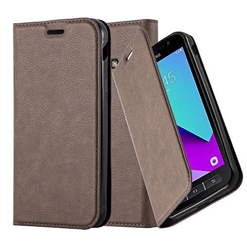 Cadorabo Hülle für Samsung Galaxy Xcover 4 - Hülle in Kaffee BRAUN - Handyhülle mit Magnetverschluss, Standfunktion & Kartenfach - Case Cover Schutzhülle Etui Tasche Book Klapp Style