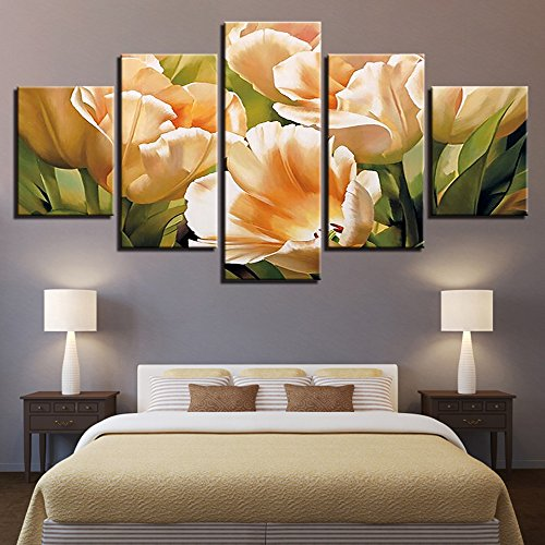 druckt Moderne Wohnzimmer Wohnkultur 5 Panel Schöne Blume Bilder Wandkunst Modulare Poster ()