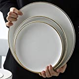 YYHWCFW Servizio Cena Piatti Tinta Unita Disegno Semplice Lato Oro Piatto di Porcellana Bianca stoviglie in Ceramica Set di Piatti Occidentali 3 Pack