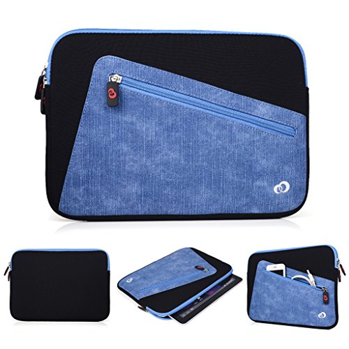 Kroo Tablet-Schutzhülle aus Neopren/Sleeve für Allview Viva H1001LTE. Vorne Reißverschluss Tasche für speicherbedarf schwarz schwarz und blau
