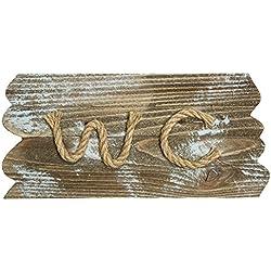 Rústico & Madera Estilo Vintage WC/Cartel–13x 26cm, madera, marrón, 26 x 1 x 13 cm