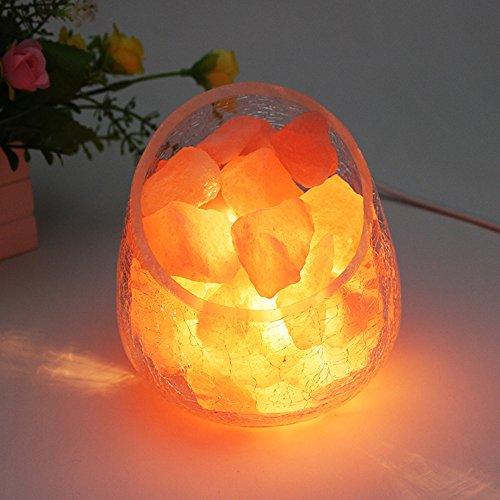 USB LED Orange Nachtlicht Salzlampe Salzkristalllampe vom Himalaya Salzleuchte Nachttischlampe Tischlampe, Stufenlos Dimmen Tragbar Schreibtischlampen