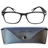 Trendy Vintage Lesebrille mit großen Gläsern | GRATIS Etui mit Druckknopf Verschluss und Brillenputztuch | Leichte & Flexible Brille (Schwarz)| Lesehilfe für Damen und Herren von Mini Brille | +2.0 Dioptrien