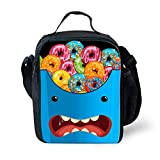 Best Thermos Lunch Boxes For Boys - HUGSIDEA Novelty Expression Lunch Tote Bag Colorful Donuts Review