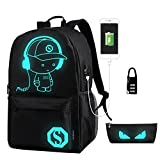 Schulrucksack, NetEraEU Taschen für Kinder Schultasche Leisure Rucksack Luminous Rucksack mit USB Charger Port, Student Backpack fit 15,6-inch Laptop (Schwarz)