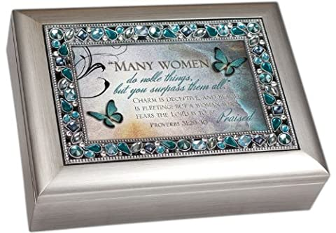 Proverbs 31:29-30 Many Women do Noble Things Religous Decorative Jewel Lid Musical Music Jewelry Box - Plays On Eagle's Wings