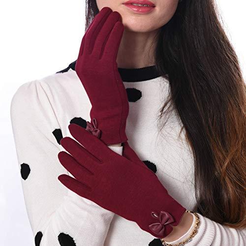 Debra Weitzner Autohandschuhe Touchscreen Winterhandschuhe für Damen Baumwolle - Rot - Einheitsgröße